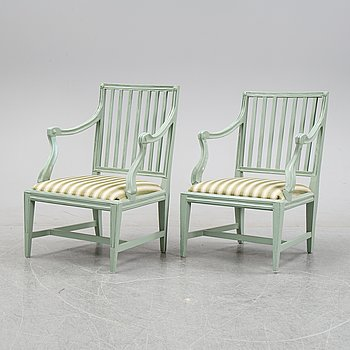 A pair of 20th century late Gustavian style armchairs after a model by J. E. Höglander (Stockholm 1777-1813).