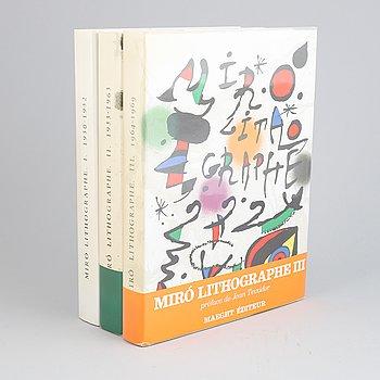 "Joan Miró, books,""Miró Lithographe"", vol. I-III 1972-1977."