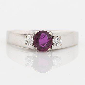 Ruby and brilliant cut diamond ring.