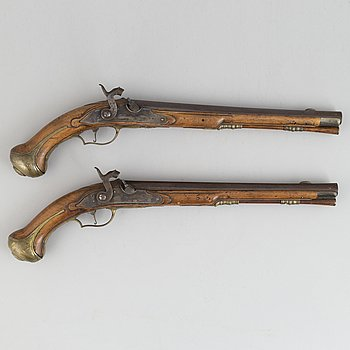 An officer's pair of converted percussion pistols, first half of the 18th Century.