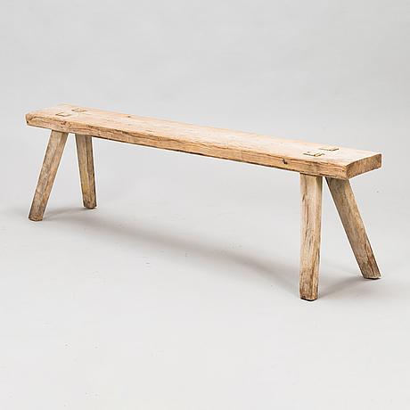A folk art bench, early 20th century.