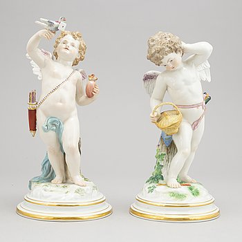 A pair of large Meissen figurines, circa 1890.
