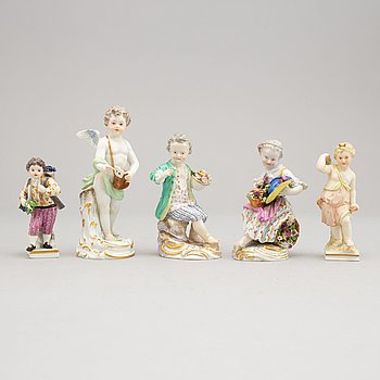 A group of five German porcelain figures, Meissen and Berlin, circa 1900.