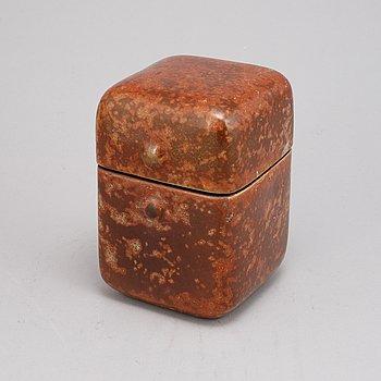 Hans Hedberg, a glazed ceramic lidded box, Biot, France, signed Hbg.