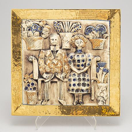 Lisa larson, a stoneware wall relief, gustavsberg.