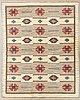 A swedish 1940/50s flat weave carpet signed lj 225x172 cm.
