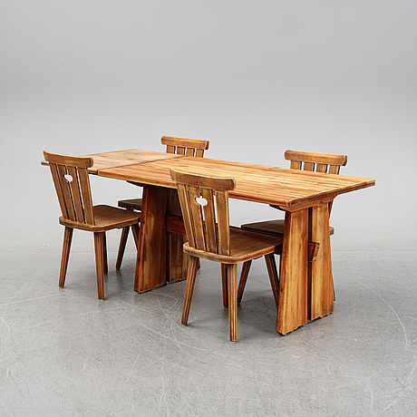 A 5 piece pine dining suite, sweden, mid 20th century.