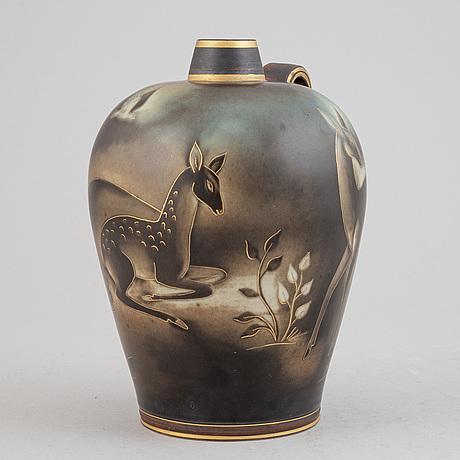 """Gunnar nylund, a """"flambé"""" stoneware vase, rörstrand."""