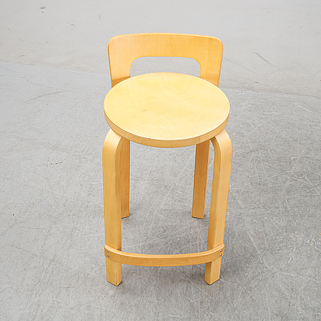 A pair of 'k65' bar stools designed by alvar aalto, second half of the 20th century.