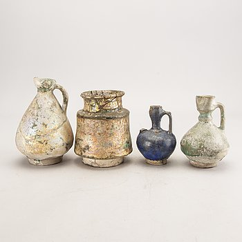 A set of three pitches and one vase earthen ware Persia 13th century or younger.