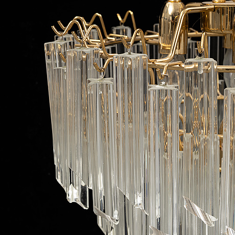 A glass and brass and glass ceiling light, italy, 1970's.