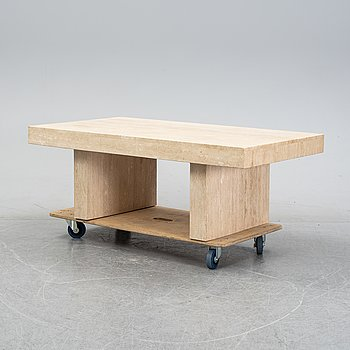 A travertine coffee table, second half of the 20th Century.