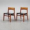 John vedel rieper, a set of six oak chairs, denmark. designed 1962.