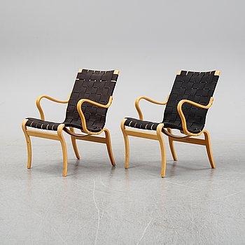 Bruno Mathsson, a pair of 'Mina' beech easy chairs, Bruno Mathsson International, Värnamo, 1995-96.