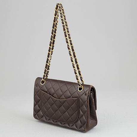 Chanel, a chocolate brown, quilted leather 'double flap' handbag, 1994-96.