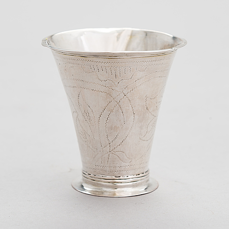 A finnish 18th-century silver beaker, maker's mark of jonas langberg, pori 1765.