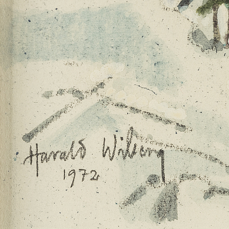 Harald wiberg, watercolor, signed and dated 1972,