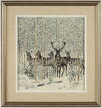 Harald Wiberg, akvarell med täckvitt, signerad och daterad 1972.