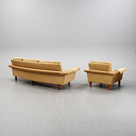 A sofa and easy chair by johannes andersen, 'drott', trensum. 1960-70s.