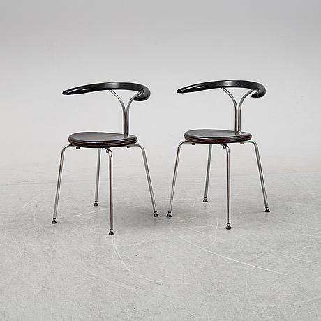 A pair of chairs by björn alge, lindlöfs interiör, lammhult, sweden, 1980-90s.
