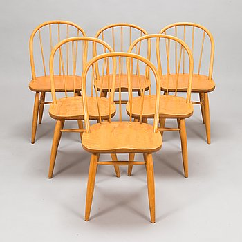 A set of six chairs from the mid 20th century.