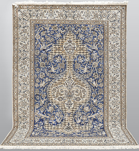 A carpet, nain, part silk, ca 310 x 210 cm.