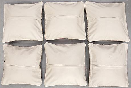 Six kilim cushions, ca 47 x 47 cm.