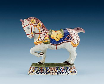 1400. A Delft faience figure of a horse by Jacobus Adraensz Halder, end of 18th Century.