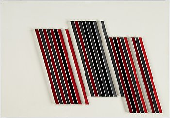 Lars-Erik Falk, relief, painted metal, signed and dated 1992 verso.