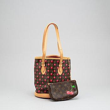 Louis Vuitton, a cerise cherry monogram canvas 'Petit Bucket' handbag with pochette. 2005.