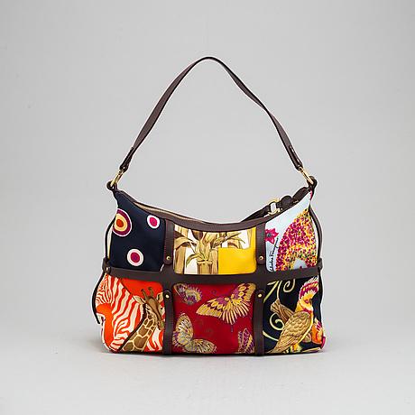 Salvatore ferragamo,  nylon and leather handbag and wallet.