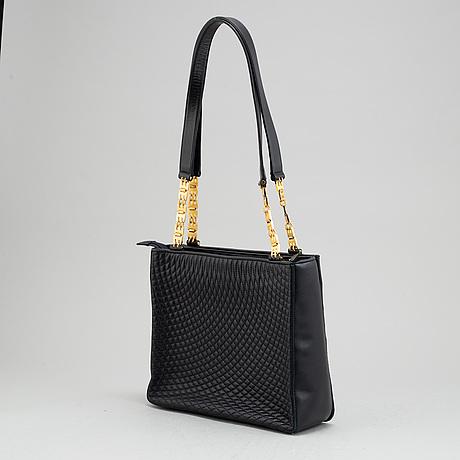 Bally, a navy leather handbag.