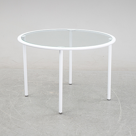 Giandomenico belotti, attributed to, a griddled glass and metal dining table, by fly line, italy, 1970s.