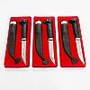 Bertel gardberg, complete set of the three puukko knives for fiskars, 1980s. designed for the wwf.