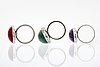 1 bangle and 3 rings, silver, amethyst, aventurine and red stone.