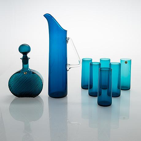 """Nanny still, drinking glasses and a jug, """"harlequin"""", and a carafe, riihimäen lasi."""