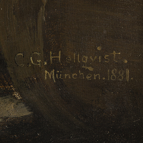Carl gustaf hellqvist, olja på duk, signerad och daterad münchen 1881.