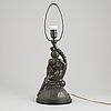 Carl fagerberg, bordslampa, patinerad brons, 1900-talets första hälft.
