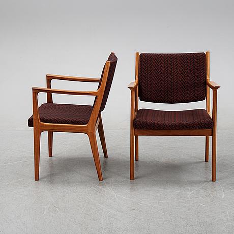 Karl erik ekselius, a set of six walnut chairs, joc möbel ab, vetlanda, second half of the 20th century.