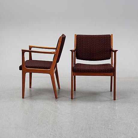 Karl erik ekselius, karmstolar, 6 st, joc möbel ab, vetlanda, 1900-talets andra hälft.