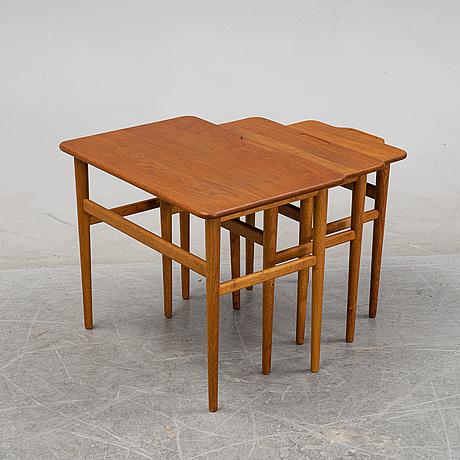 Kurt östervig, a teak nesting table, jason, denmark, 1950's/1960's.