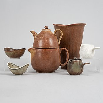 Tea pot, two bowls, two creamers, and a vase by Gunnar Nylund, stoneware, Rörstrand.