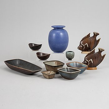 A vase, two fishes, and 7 bowls by Gunnar Nylund, stoneware, Rörstrand.