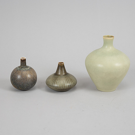 Two bowls, three vases, and a figurine by carl-harry stålhane, stoneware, rörstrand.