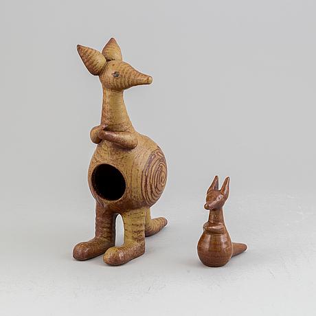 Lisa larson, a stoneware figurine, 'kangaroo and joey' from the series 'stora zoo', for gustavsberg.