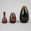 Carl-harry stålhane, skålar, 2 st, samt vaser, 5 st, stengods, rörstrand.