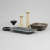 Two stoneware vases and four bowls by carl-harry stålhane, rörstrand.