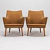 Hans j wegner, a pair of 1950's 'ap 20/18' armchairs for ap- stolen denmark.