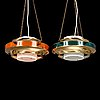 Kai finnmark, two 1970's pendant lights for lynx.