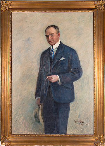 Marie hauge, olja på duk, signerad och daterad 1918.
